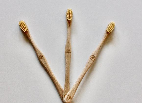 Brosse à dents en hêtre suisse Adultes Ricine MEDIUM
