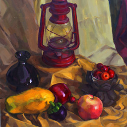 Still Life - Oil Lamp and Fruits