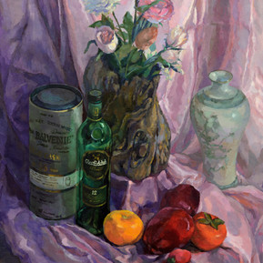 Still Life - Flowers, Fruits and Containers