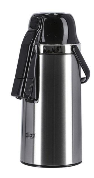 Delcasa Airpot Glass Vacuum Flask Silver/Black