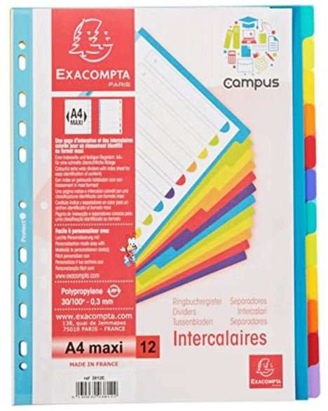 Maxi PP Dividers A4 12 Part-Multi-Coloured