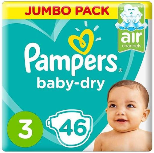 Pampers Dry Diapers, Size 3, 46 Count, Pack of 3