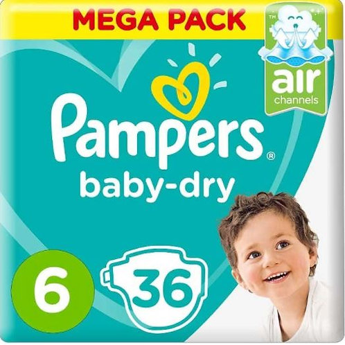 Pampers Baby Dry Diapers Size 6, Count 36 Pack of 2
