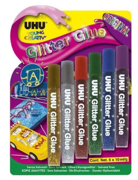 UHU Shinny Glitter Glue 10ml Pack of 6