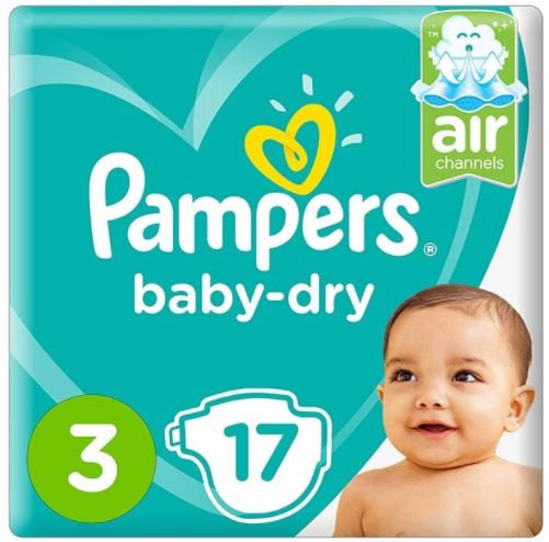 Pampers Dry Diapers Size 3, 17 Count Pack of 6