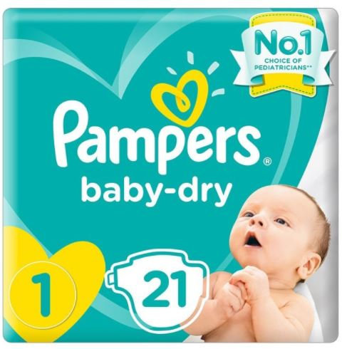 Pampers Baby Dry Diapers Size 1- 21 Pieces Pack of 8 (Cartoon)