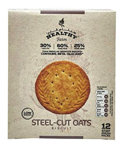 Healthy Farm Steel Cut Oats Biscuit 25g Pack of 12