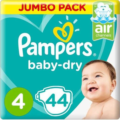 Pampers Baby-Dry Diapers, Size 4, 7-14kg Pack of 2