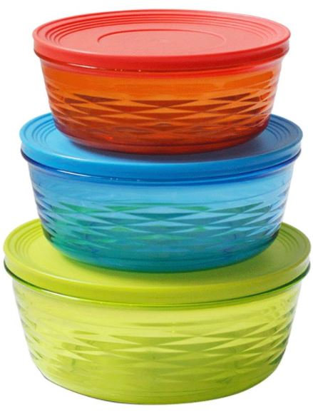 Delcasa 3-Piece Round Container Set Multicolour