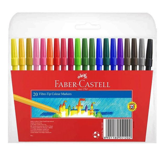Faber-Castell Fibre Tip Colour Pens 20pcs
