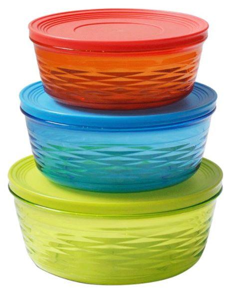 Delcasa 3-Piece Round Container Set Multicolour