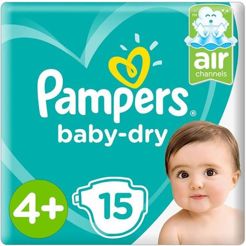 Pampers Dry Diapers Size 4 Plus, 15 Count Pack of 6