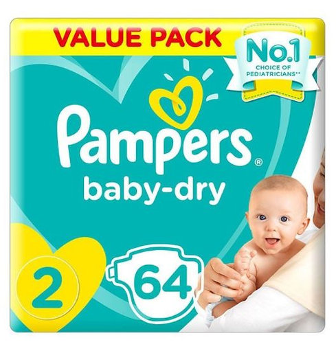 Pampers New Baby Dry Diapers Size 2, 64 Count Pack of 3
