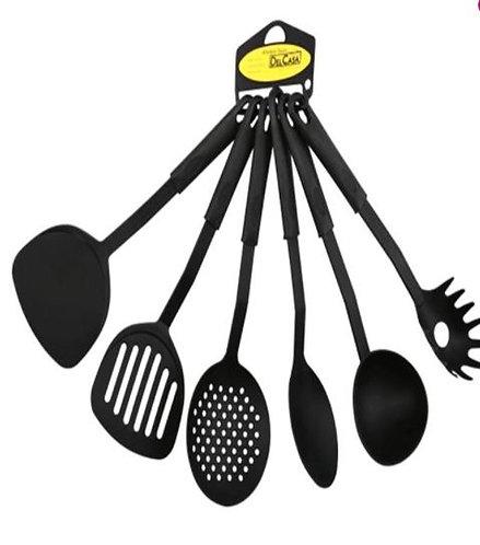 Delcasa 6-Piece Spoon Set Black 8cm