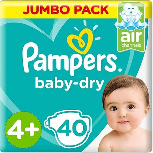 Pampers Dry Diapers Size 4 Plus, 40 Count Pack of 2