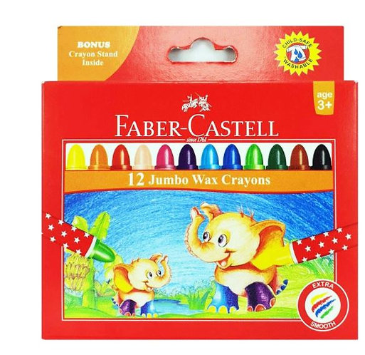Faber-Castell Jumbo Wax Crayons - 12 Colours