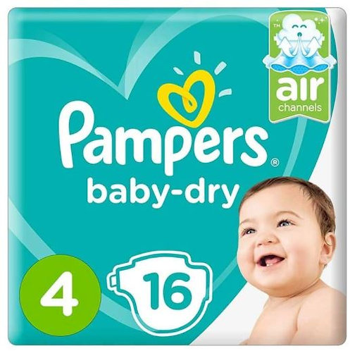 Pampers Baby-Dry Diapers Size 4, Count 16, Pack of 6