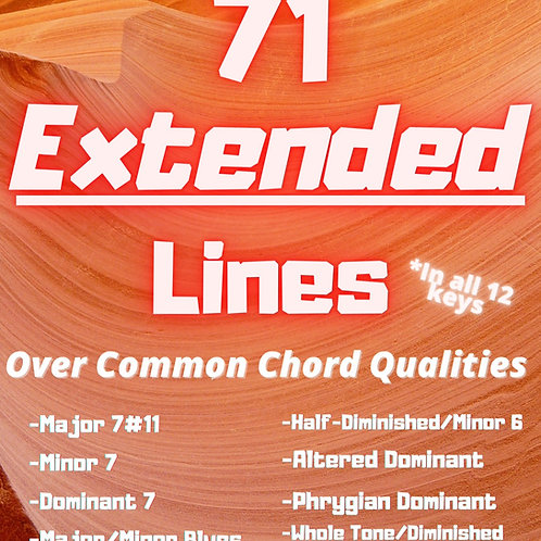 Treble Clef: 71 Extended Lines Over Common Chord Qualities IN ALL 12 KEYS