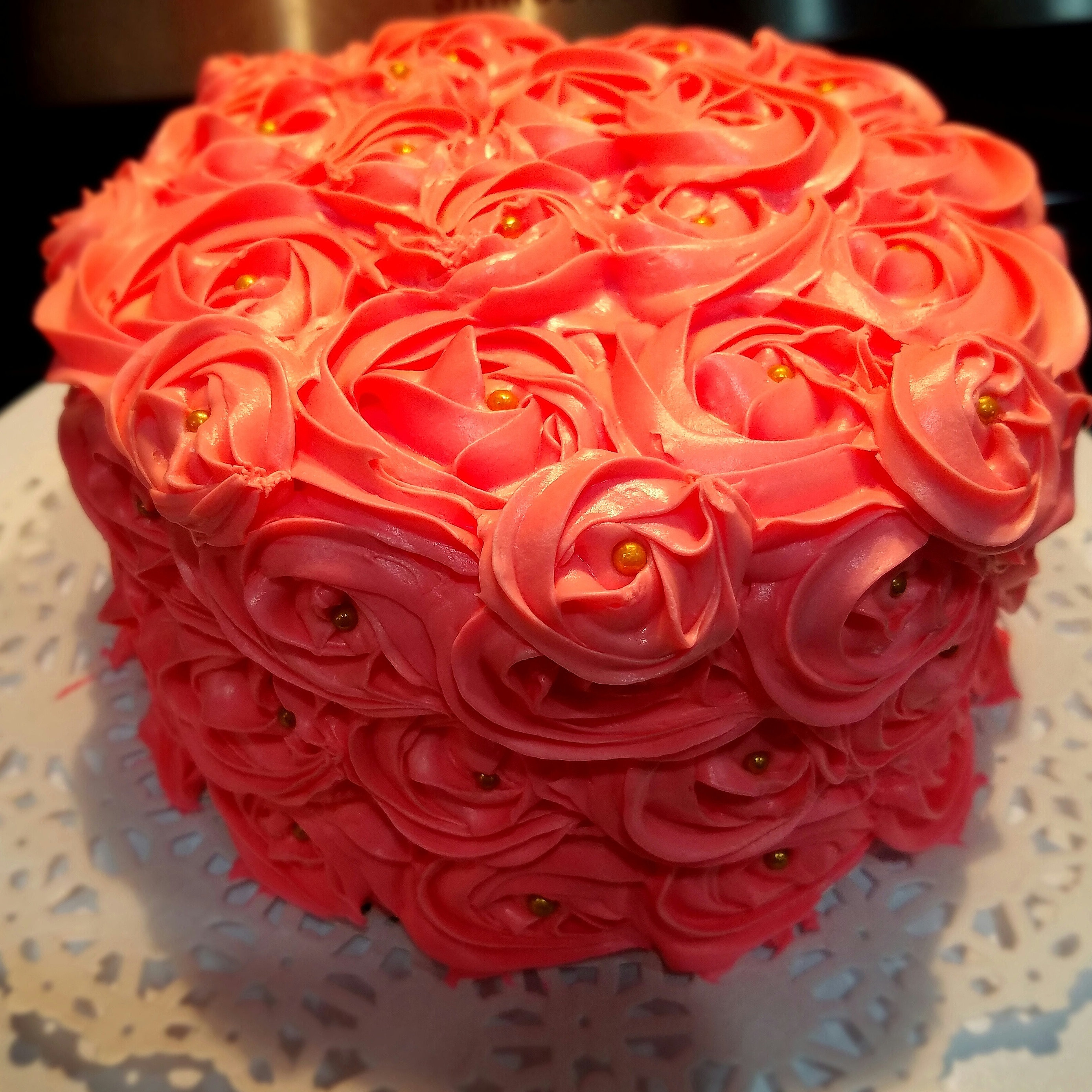 Annie Maeu0027s Bakery | Custom Cakes | Wedding Cakes | Nashville, TN | Pink  Rosette Cake With Gold Edible Candy.