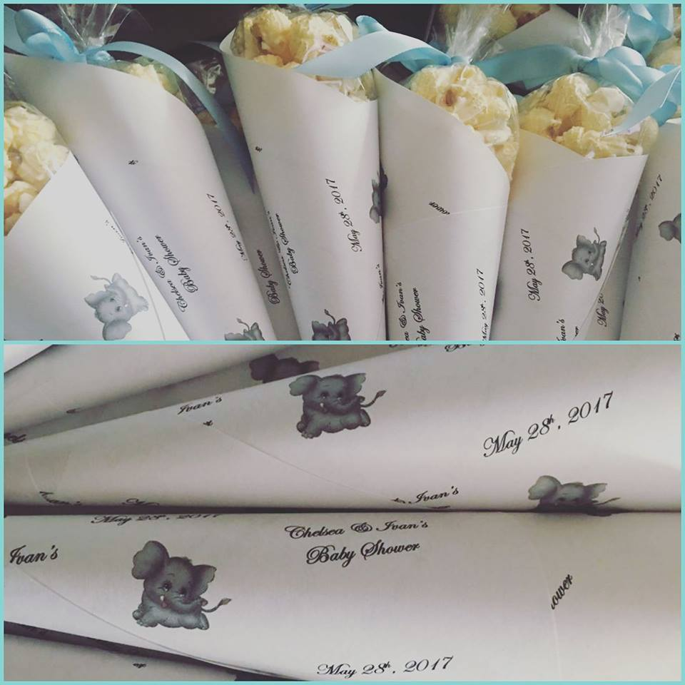 Baby Shower Popcorn Cones