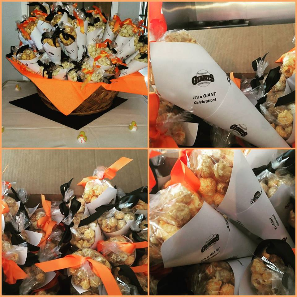 Birthday Party SF Giants Popcorn Cones