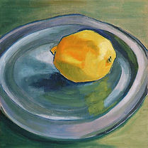 Lemon on a Pewter Plate still life