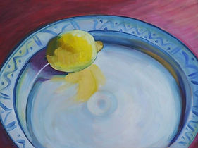 Lemon on Patterned Plate still life