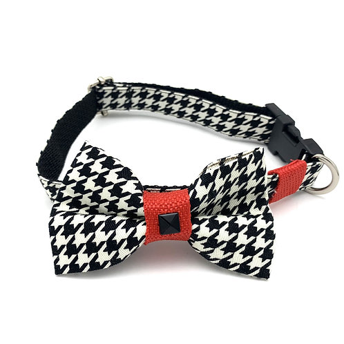 Red Houndstooth Collar & Bow Tie Set