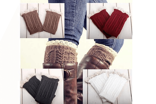Knitted Boot Cuffs with Elegant Lace Trim