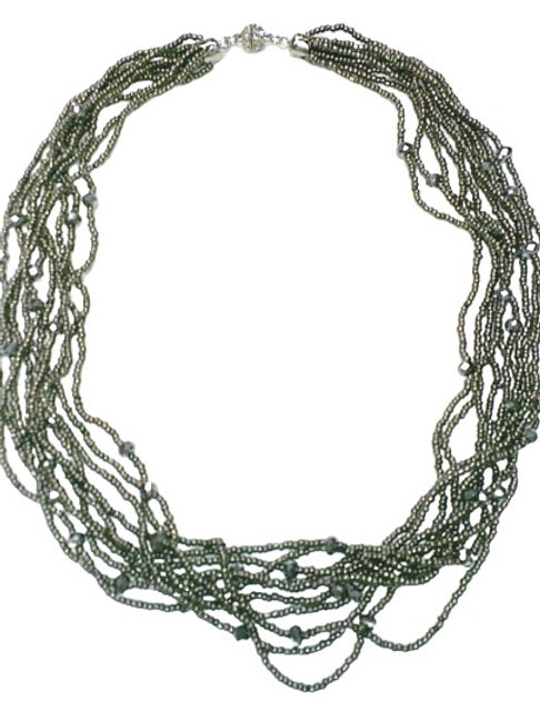 Multi Strands Metallic Black Crystal Necklace