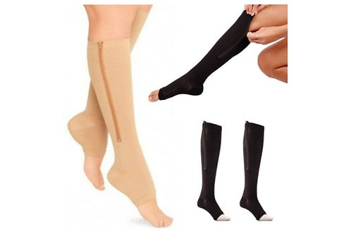 Compression Socks Toe Open Leg Support Knee High Socks with Zipper