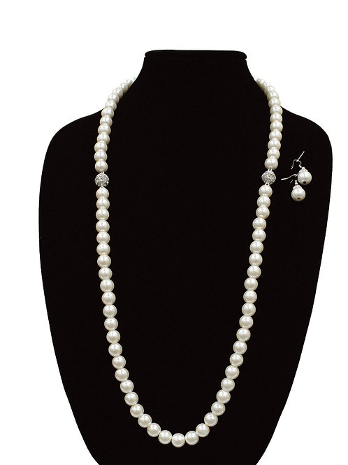 """18"""" Crystal Pearl Necklace and Earrings Set"""