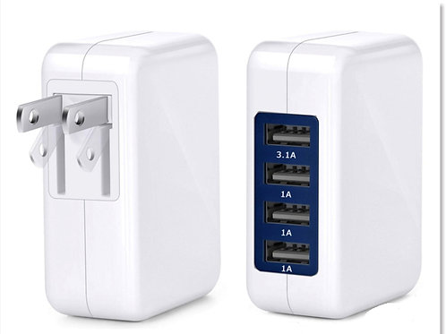 3.1A 15W High Speed 4 Port USB Wall Charger Adaptor for Smartphones, Tablet