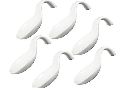 White Porcelain Appetizer / Tasting Spoons - Set of 6
