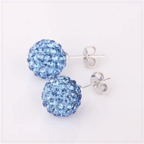 Sparkling Fireball Crystal Stud Earrings Stainless Steel Earrings, 8mm
