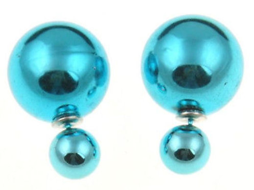 Double Sided Pearl Stud Earrings - Shiny Colors