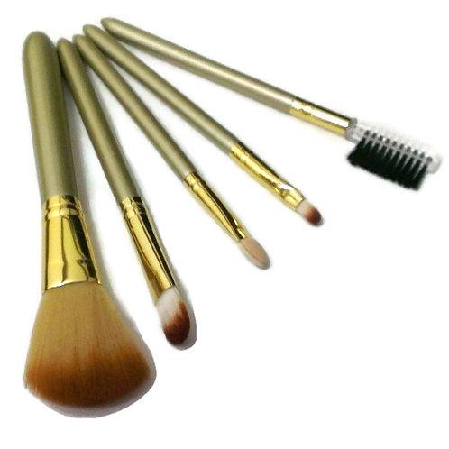 Champagne Natural Cosmetic Professional Brush 5 pcs Set