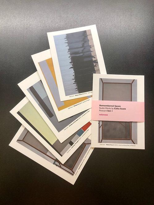 celia scott, remembered space: studio works i (set of five postcards)