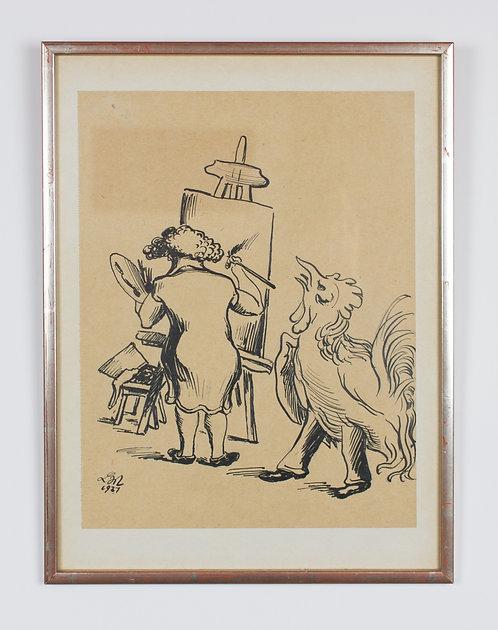 ludwig meidner, else meidner at easel (1937)