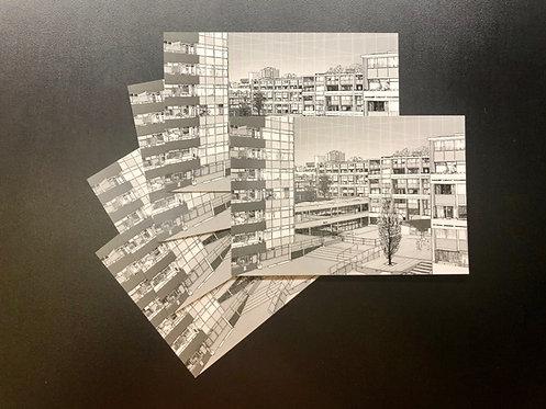 david rudlin, golden lane view (set of five identical postcards)