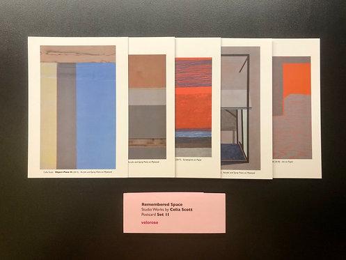 celia scott, remembered space: studio works ii (set of five postcards)