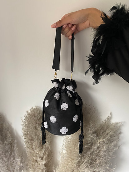 Black Drawstring Bucket/Pouch Bag with Pearl Embroidery