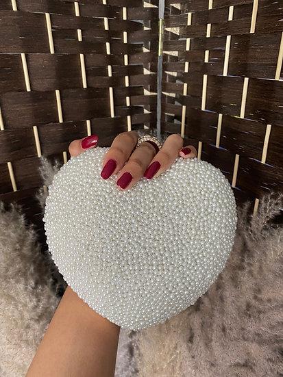Heart Shaped Pearl Clutch Bag