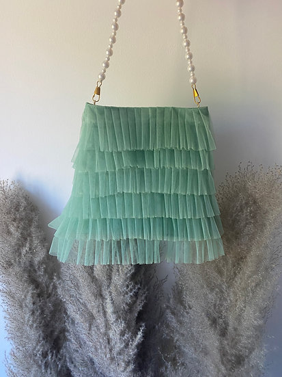 Sage Green Tulle Frill Pouch Bag