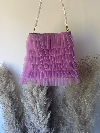 Lilac Tulle Frill Pouch Bag