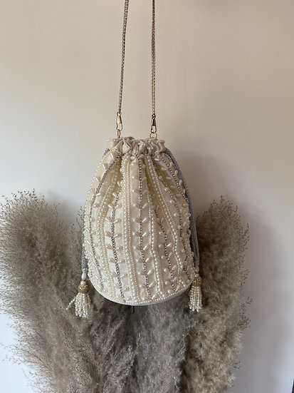 Cream Pearl Embroidered Drawstring Potli/ Pouch Bag