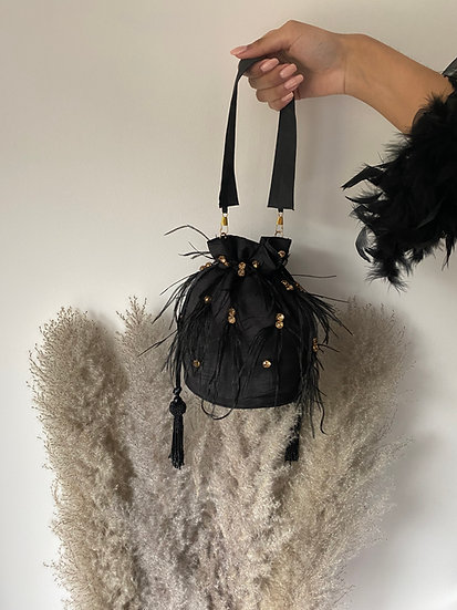 Black Drawstring Bucket/Pouch Bag with Feather Embroidery