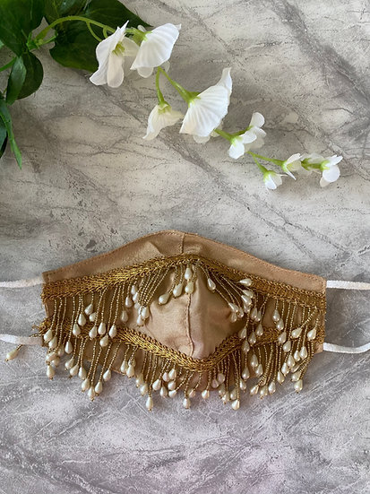 Gold Pearl Face Mask