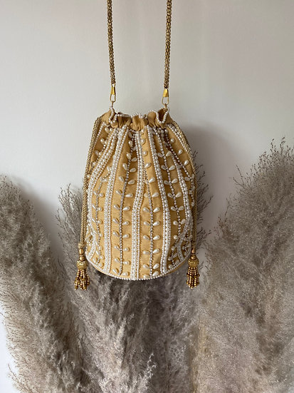 Gold Pearl Embroidered Drawstring Potli/ Pouch Bag
