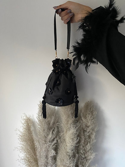 Black Drawstring Bucket/Pouch Bag with Sequin Embroidery
